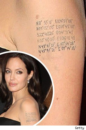 Angelina Jolie Has Tattoo of Kids' Birthplaces